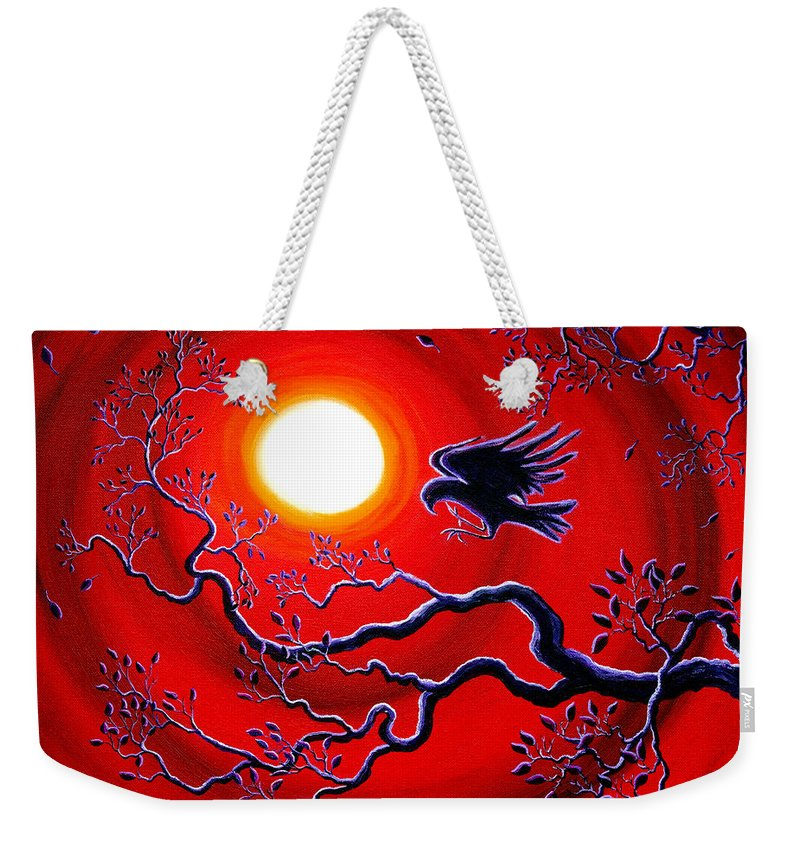 Crow Weekender Tote Bag featuring the painting Raven In Ruby Red by Laura Iverson