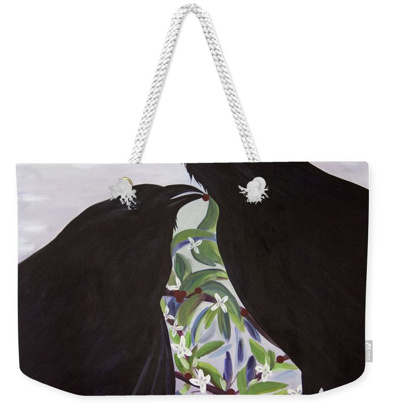 #raven Weekender Tote Bag featuring the painting Ravens Song by Jacquelinemari