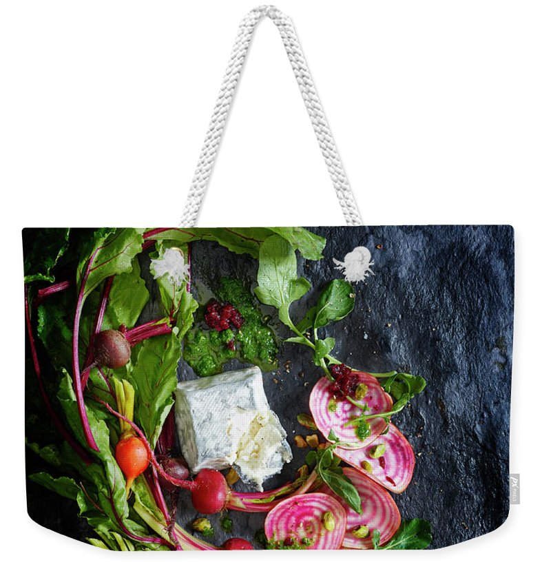 Cheese Weekender Tote Bag featuring the photograph Raw Beeet Salad Ingredients by Annabelle Breakey