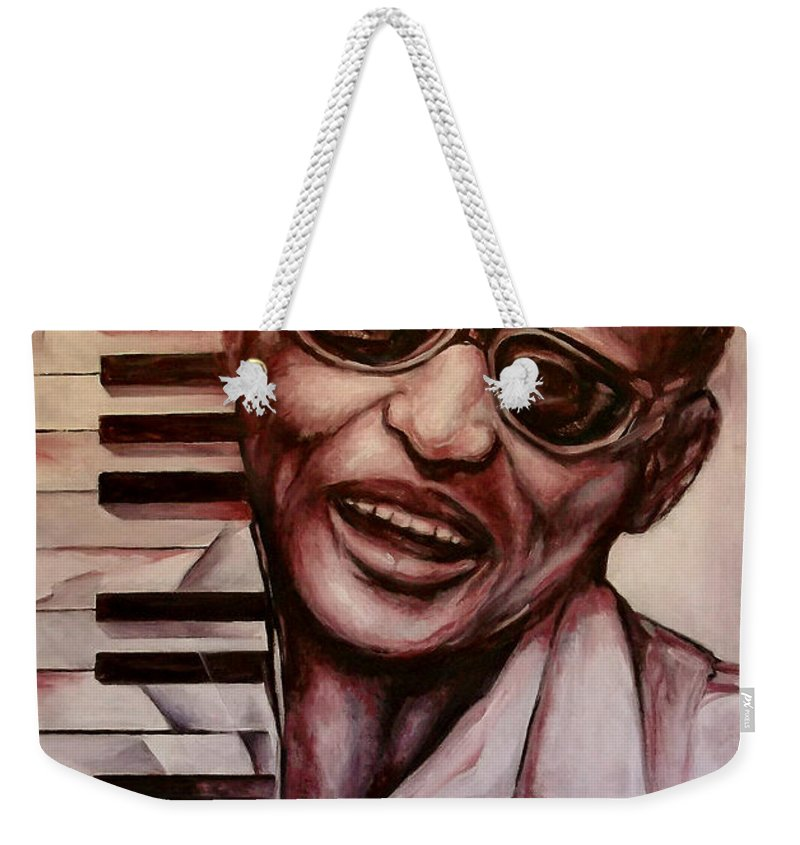 Original Fine Art By Lloyd Deberry Weekender Tote Bag featuring the painting Ray The Print by Lloyd DeBerry