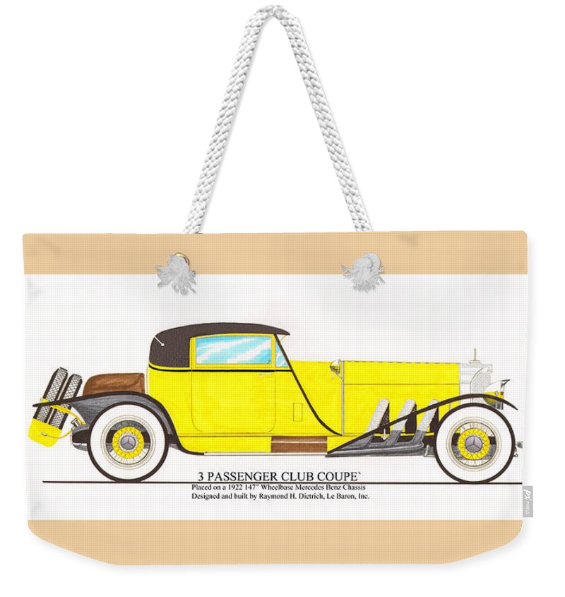 Early 1920's Conceptual Design Of The 3 Passenger Club Coupe By Raymond H. Dietrich Weekender Tote Bag featuring the painting 1922 Mercedes Benz By Raymond Dietrich Z by Jack Pumphrey