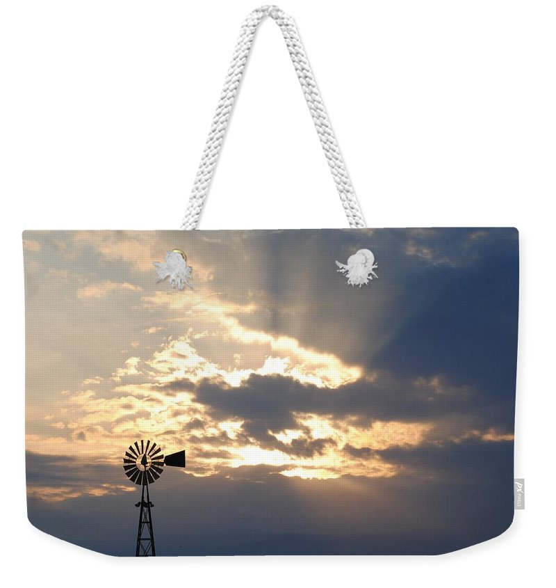 Windmill Weekender Tote Bag featuring the photograph Rays Behind The Mill by Eric Liller