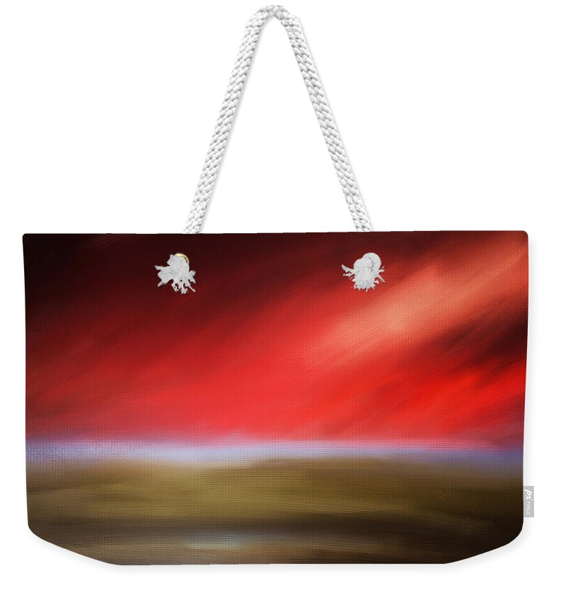 Seascapes Abstract Weekender Tote Bag featuring the digital art Rays Of Grandeur by Lourry Legarde