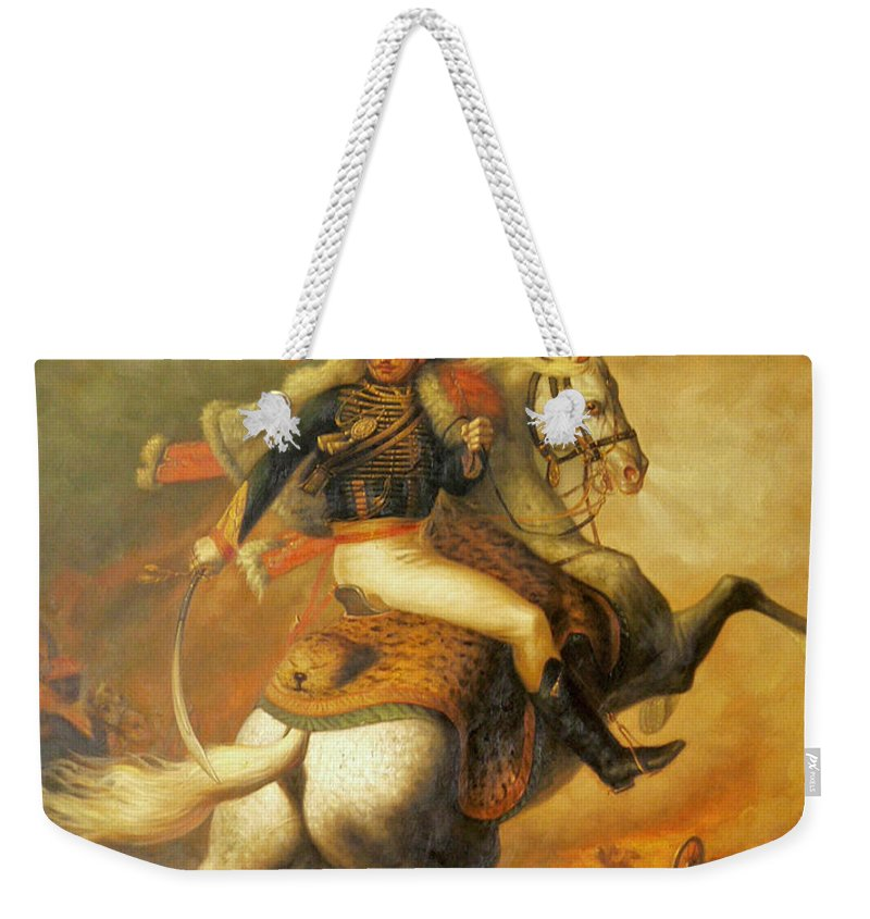 Art Weekender Tote Bag featuring the painting Re Classic Oil Painting General On Canvas#16-2-5-08 by Hongtao   Huang