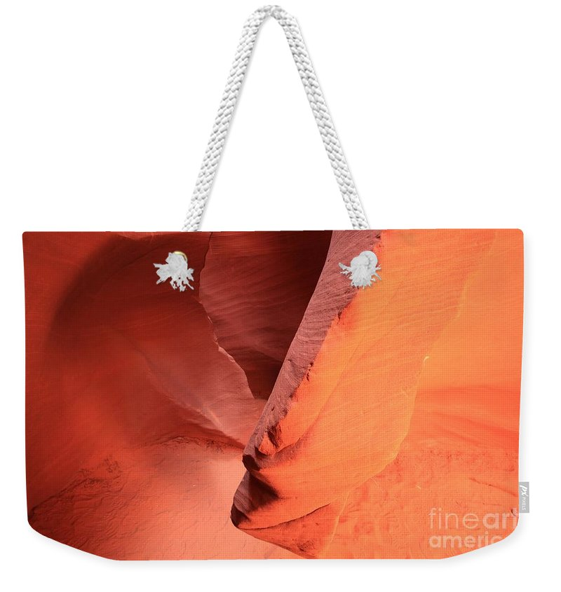 Arizona Slot Canyon Weekender Tote Bag featuring the photograph Reaching Down by Adam Jewell