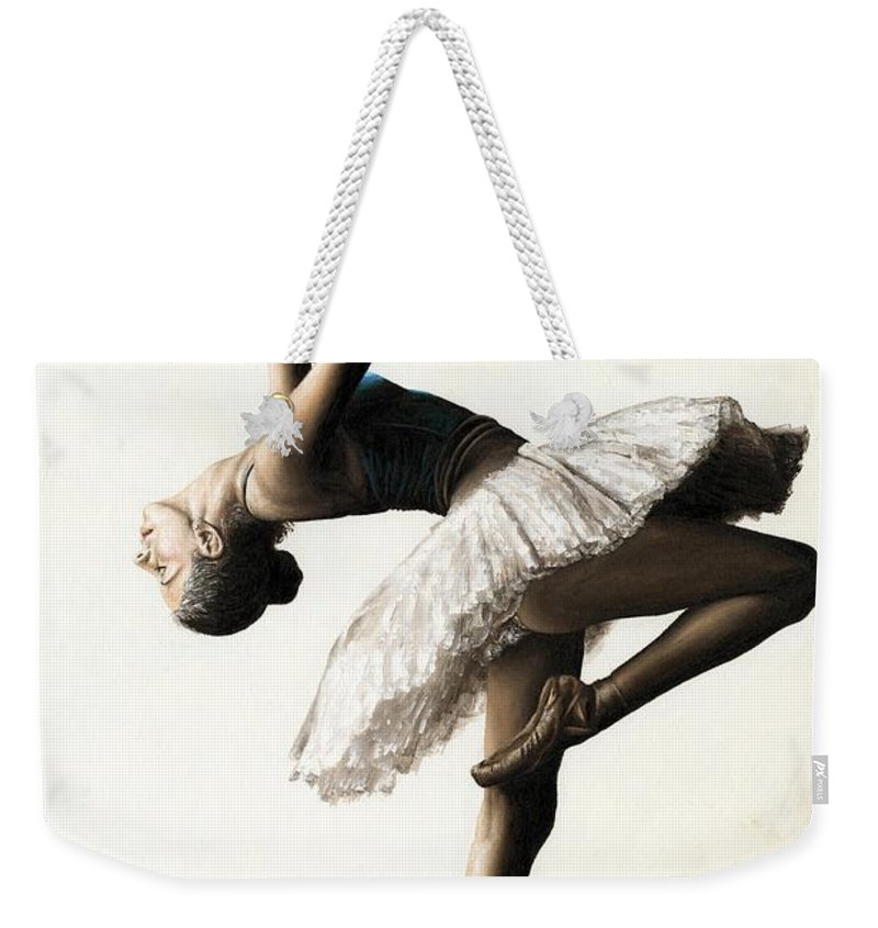 Dancer Weekender Tote Bag featuring the painting Reaching For Perfect Grace by Richard Young