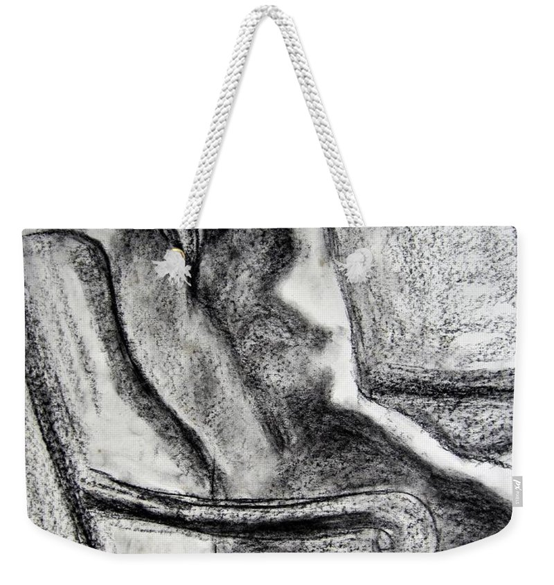 Kendall Kessler Weekender Tote Bag featuring the drawing Reaching Out by Kendall Kessler