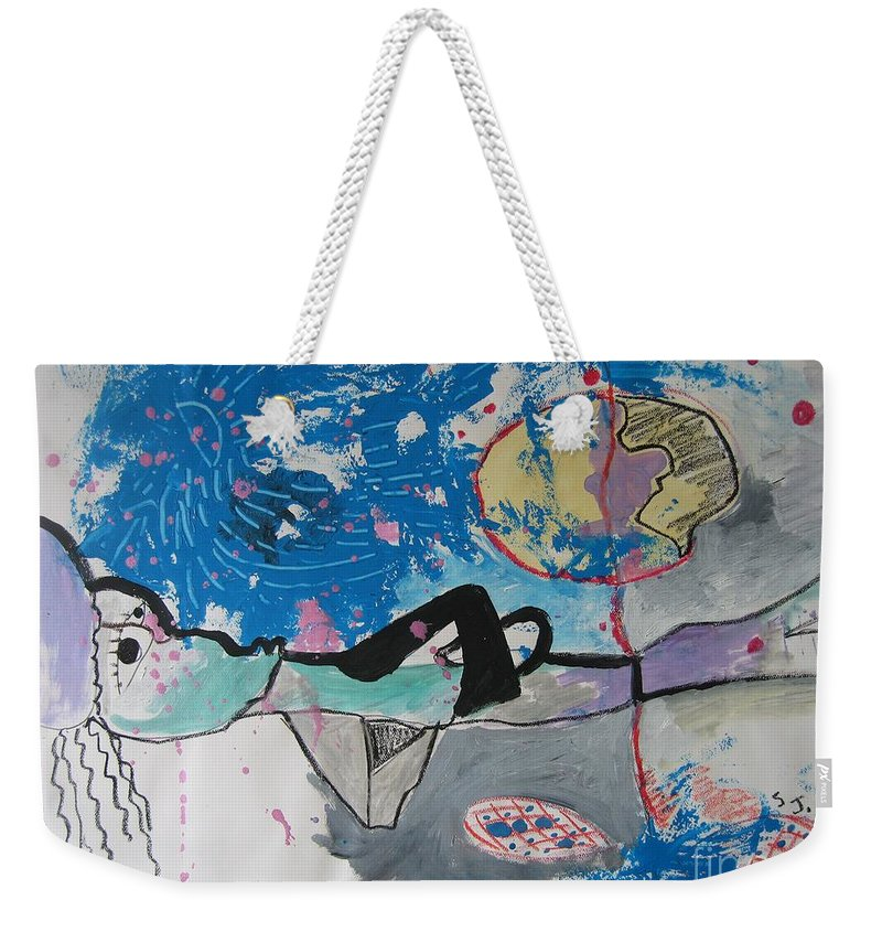 Abstract Paintings Weekender Tote Bag featuring the painting Read My Mind2 by Seon-Jeong Kim