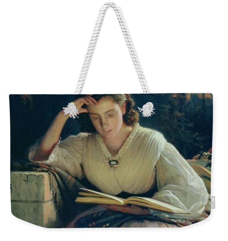 Female Weekender Tote Bag featuring the painting Reading by Ivan Nikolaevich Kramskoy