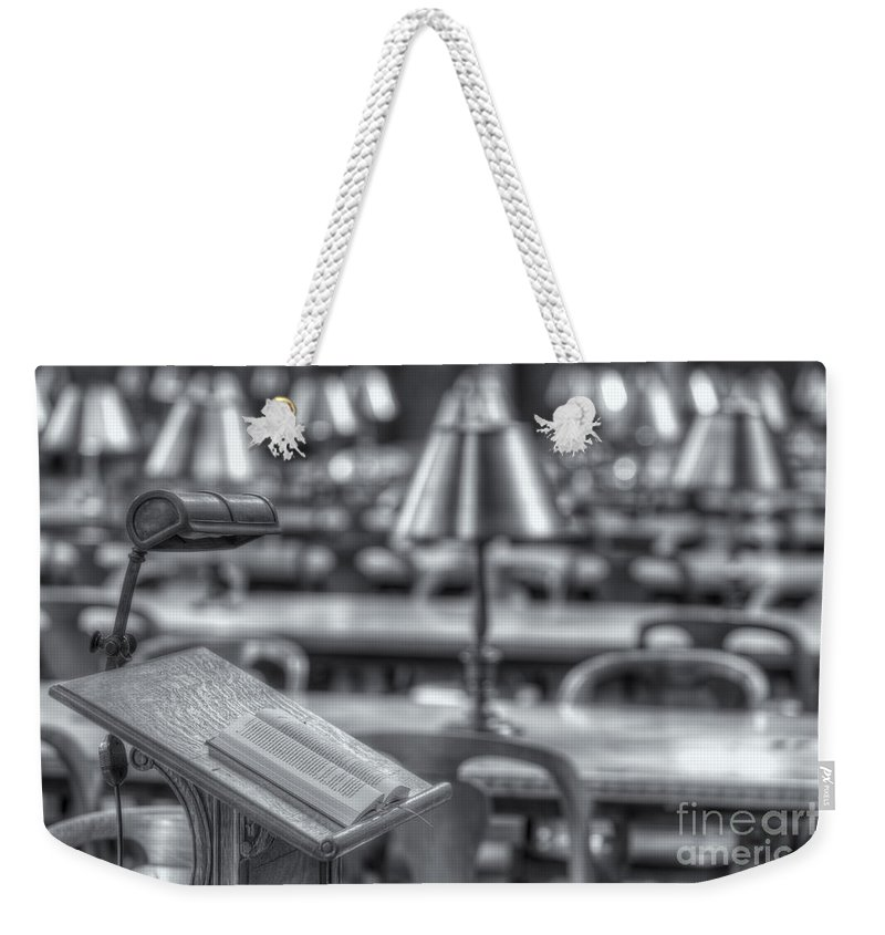 Clarence Holmes Weekender Tote Bag featuring the photograph Reading Stand And Tables II by Clarence Holmes