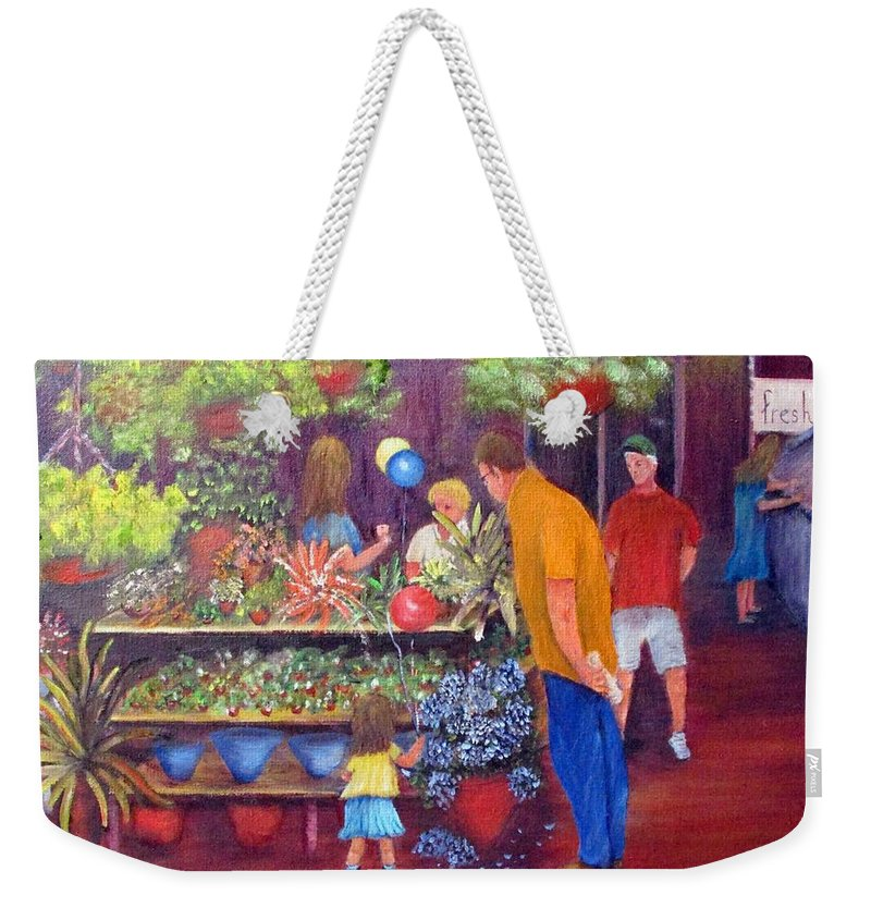 Market Weekender Tote Bag featuring the painting Reading Terminal Market Flowers by Loretta Luglio