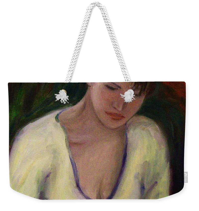 North California Weekender Tote Bag featuring the painting Reading by Xueling Zou