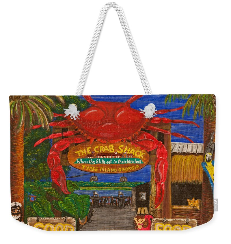 Crab Shack Weekender Tote Bag featuring the painting Ready For The Day At The Crab Shack by Susan Cliett