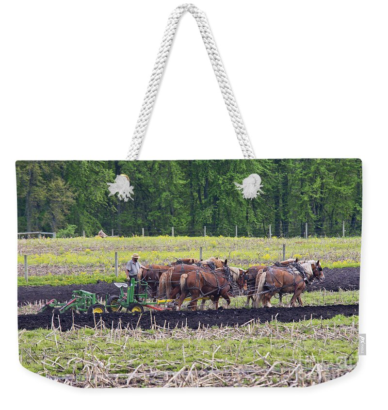 Amish Weekender Tote Bag featuring the photograph Ready The Ground by David Arment