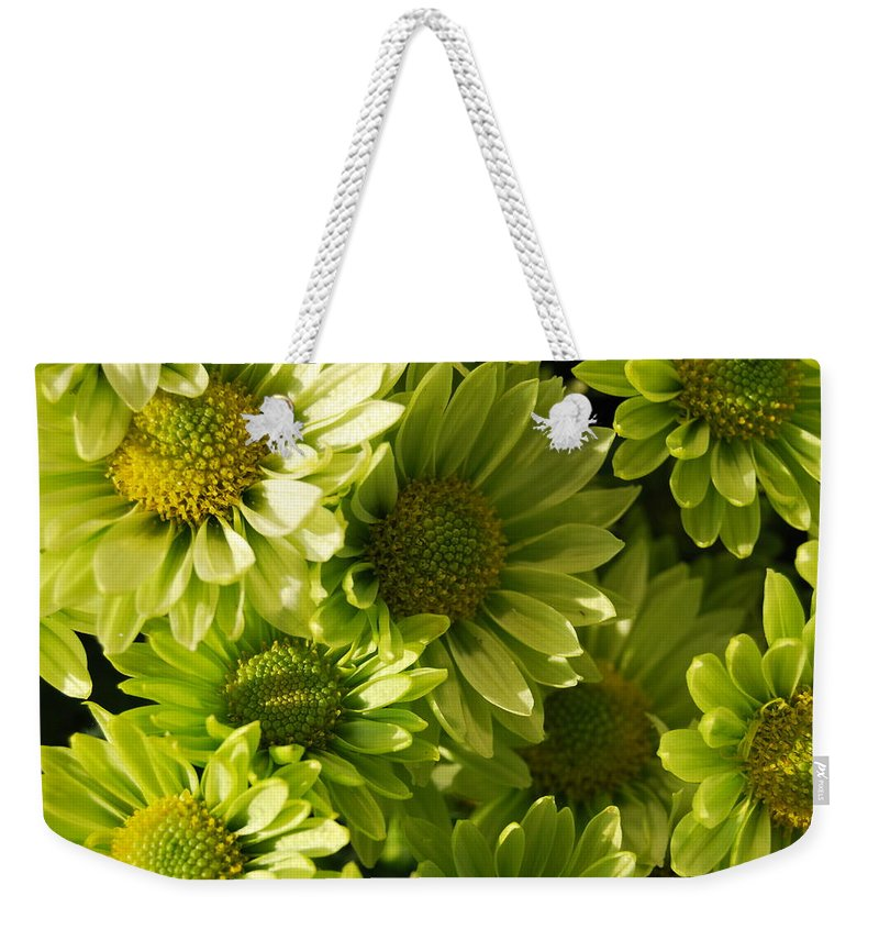 Weekender Tote Bag featuring the photograph Real Green Flowers by Riad Belhimer