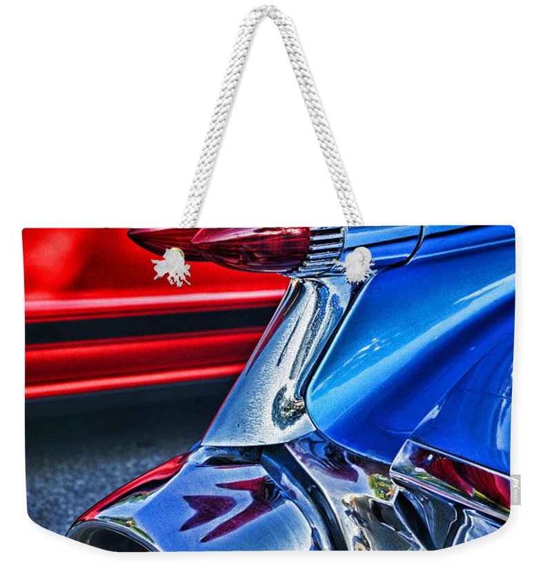 Cars Weekender Tote Bag featuring the photograph Rear Tail Lights by Randy Harris