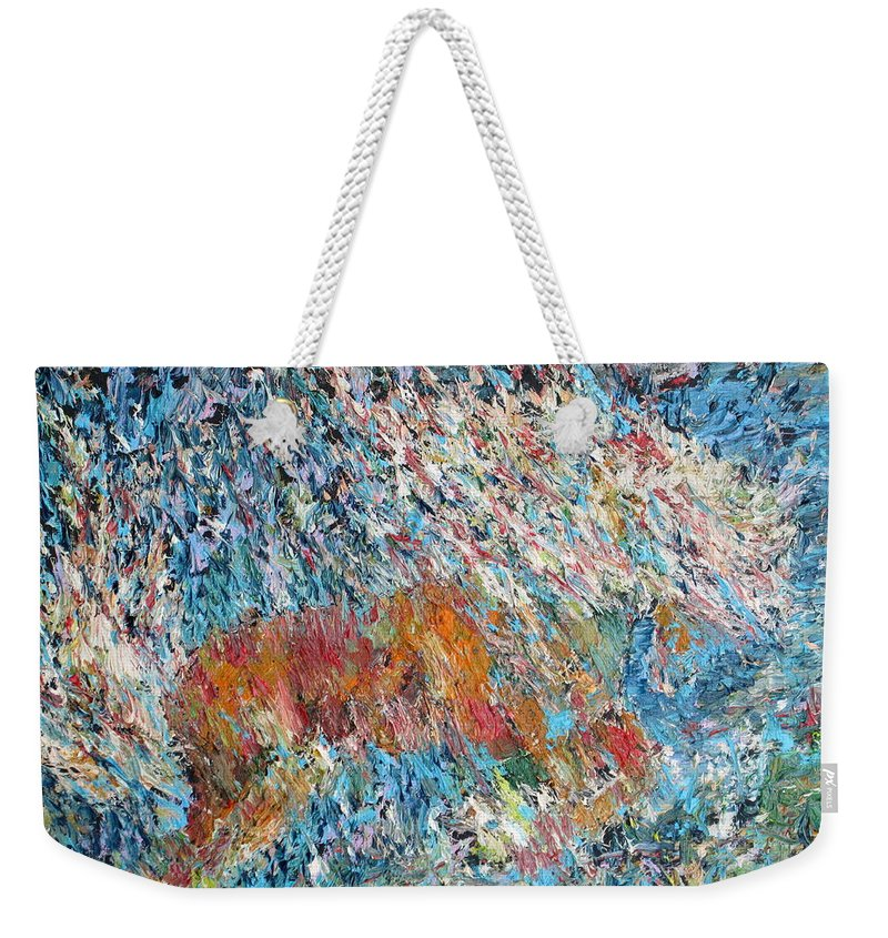 Horse Weekender Tote Bag featuring the painting Rearing Stallion - Oil Portrait by Fabrizio Cassetta