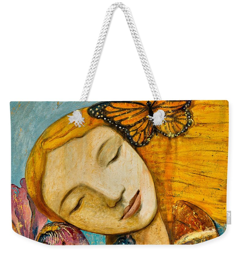 Shijun Weekender Tote Bag featuring the painting Rebirth by Shijun Munns