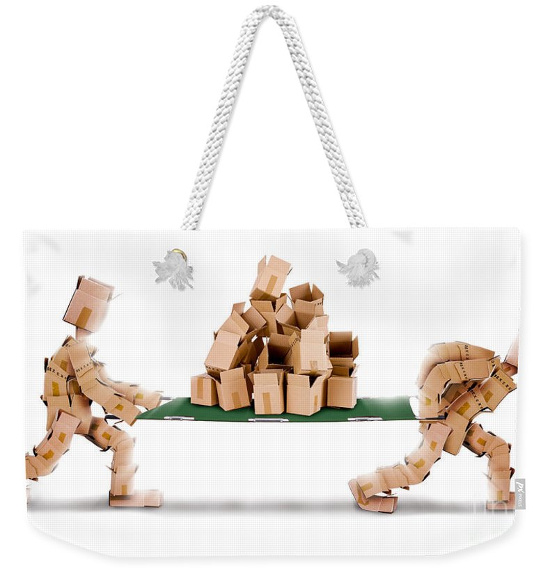 Recycling Weekender Tote Bag featuring the photograph Recycling Boxes By Box Characters And Stretcher by Simon Bratt Photography LRPS