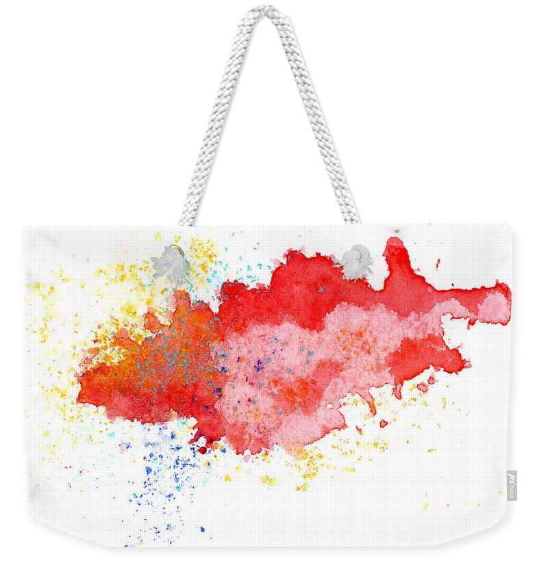 Watercolor Painting Weekender Tote Bag featuring the photograph Red Abstract Painted Splash by Alenchi