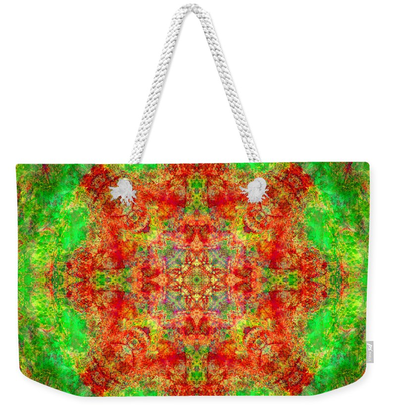Rainbow Weekender Tote Bag featuring the photograph Red And Green Sun Mandala by Susan Bloom