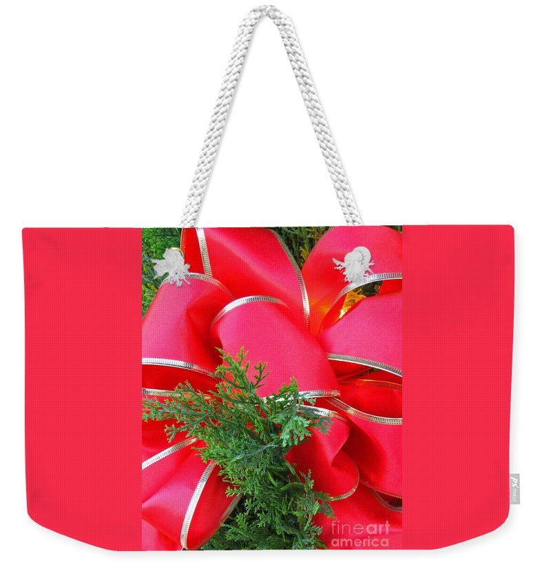 Christmas Weekender Tote Bag featuring the photograph Red And Greens by Ann Horn