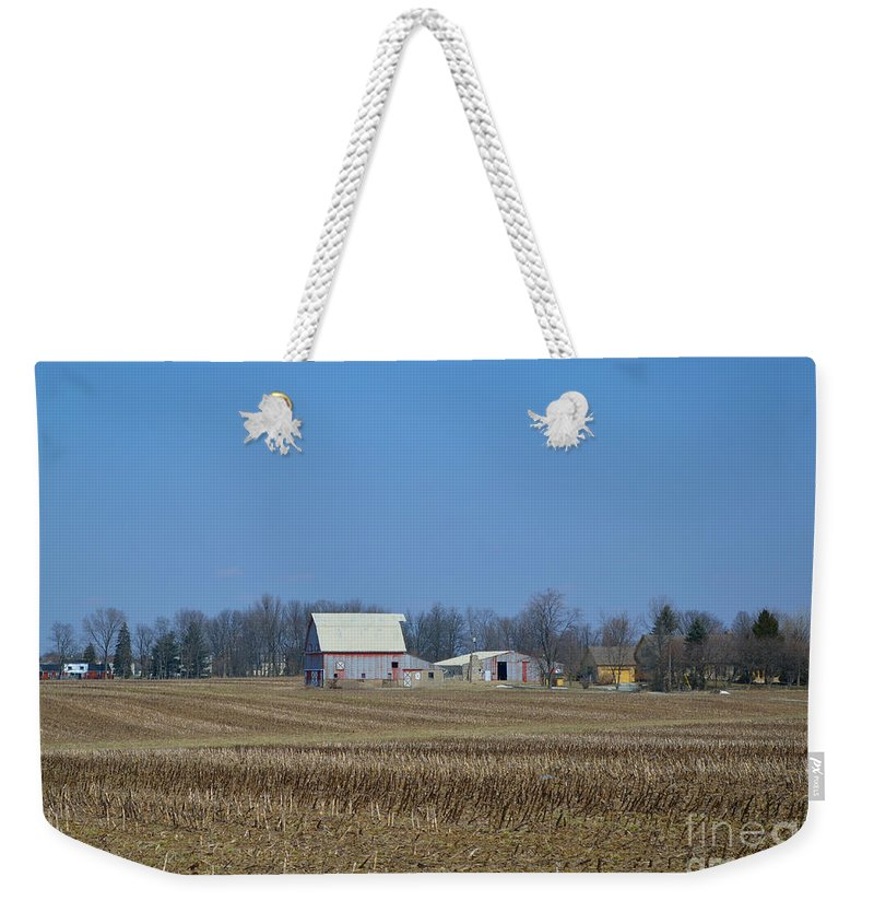 Barns Weekender Tote Bag featuring the photograph Red And White Barns by Alys Caviness-Gober