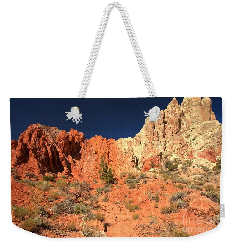 Cottonwood Road Weekender Tote Bag featuring the photograph Red And White Caps by Adam Jewell