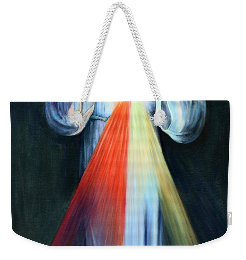 Jesus Weekender Tote Bag featuring the photograph Red And Yellow Lights by Munir Alawi