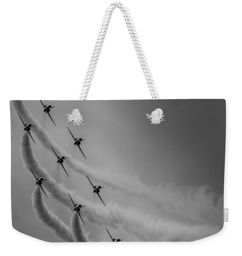Riat Weekender Tote Bag featuring the photograph Red Arrows Diamond 9 by Gareth Burge Photography