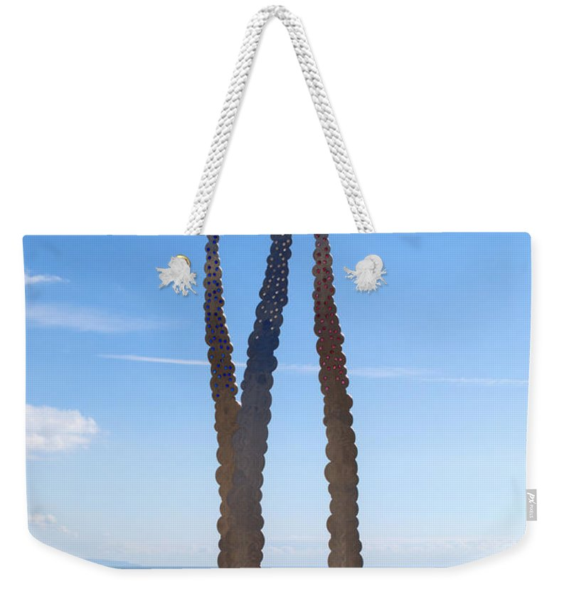 Red Arrows Weekender Tote Bag featuring the photograph Red Arrows Memorial by Chris Day