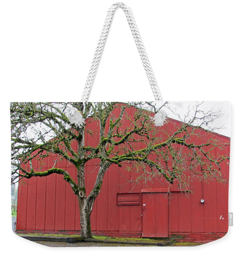 Dundee Hills Weekender Tote Bag featuring the photograph Red Barn And Green Tree In Dundee Hills Oregon Wine Country by Elizabeth Rose