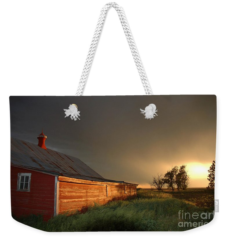 Barn Weekender Tote Bag featuring the photograph Red Barn At Sundown by Jerry McElroy