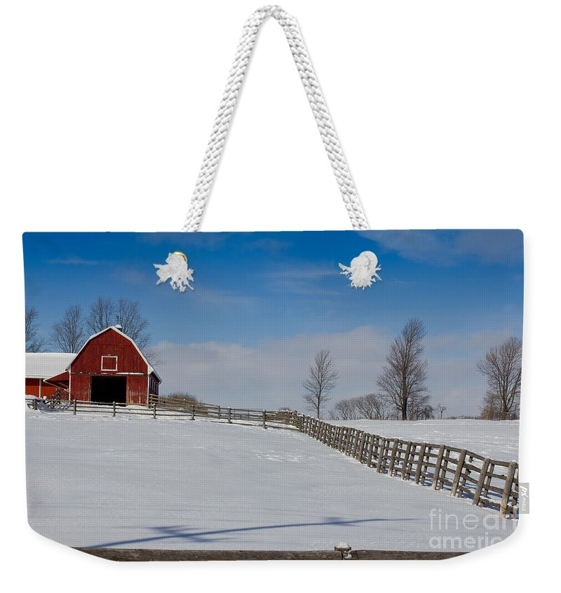Red Weekender Tote Bag featuring the photograph Red Barn by Les Palenik