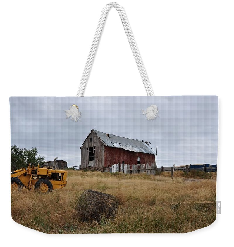 Barn Weekender Tote Bag featuring the photograph Red Barn On The Hill by Image Takers Photography LLC
