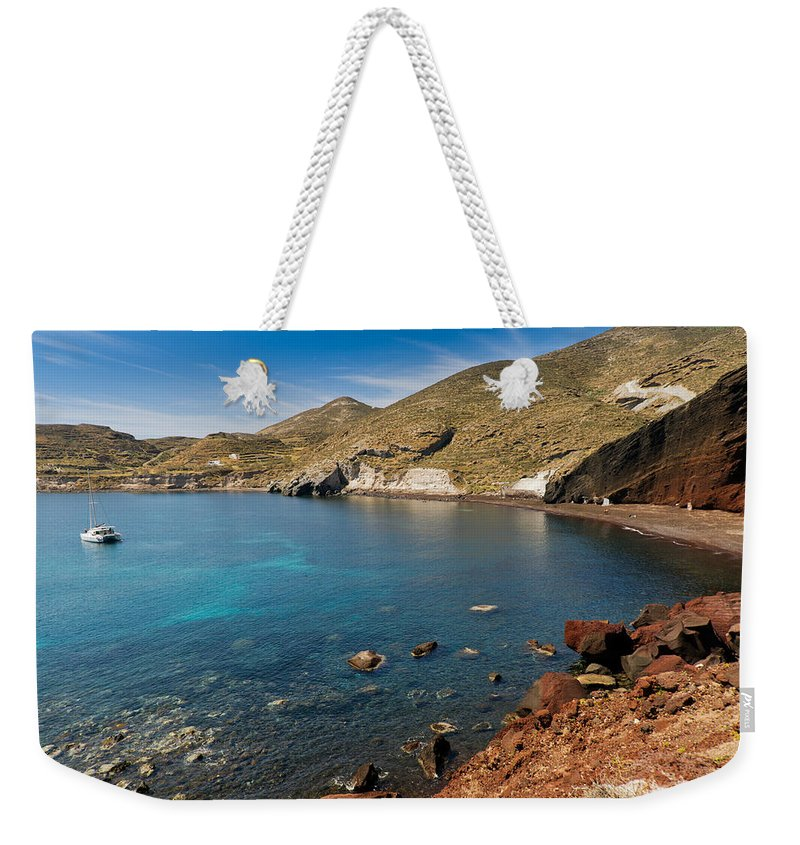 Red Beach Weekender Tote Bag featuring the photograph Red Beach Santorini by Gary Eason