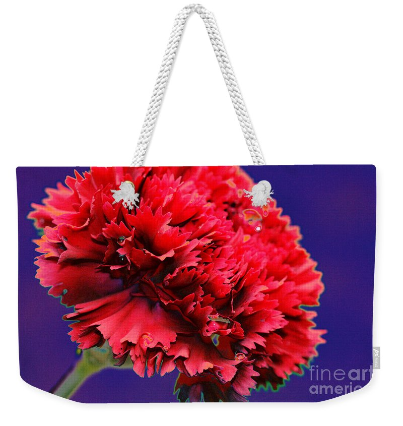 Red Weekender Tote Bag featuring the digital art Red Beauty Carnation by Carol Lynch