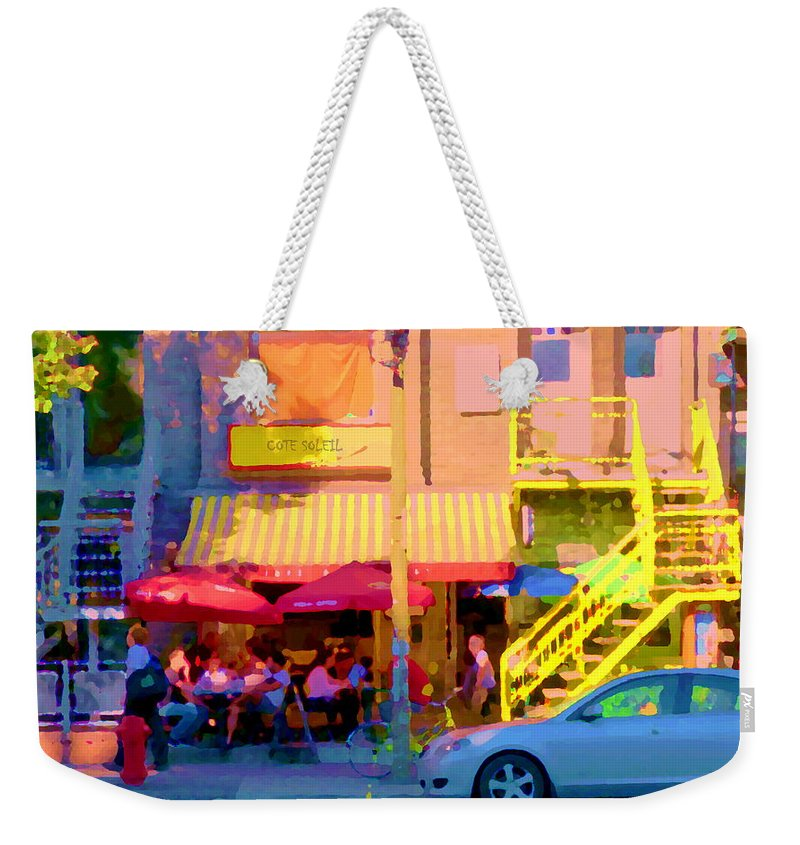 Montreal Weekender Tote Bag featuring the painting Red Bistro Umbrellas Cafe Cote Soleil Rue St Denis Yellow Staircase Montreal Scenes Carole Spandau by Carole Spandau