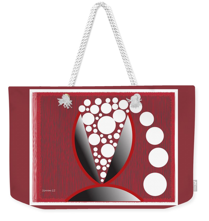 Wine Glass Weekender Tote Bag featuring the digital art Red Black White Expressions Sparkling Wine by Sirron Kyles