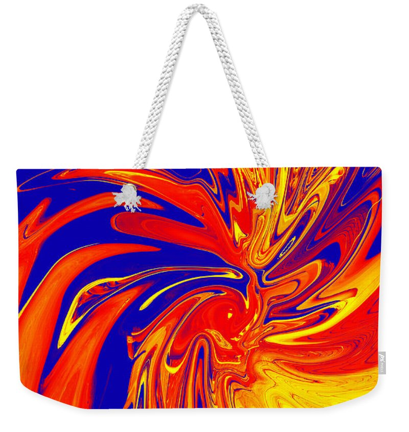 Red Weekender Tote Bag featuring the digital art Red Blue Orange Red Yellow Swirl by Christopher Shellhammer