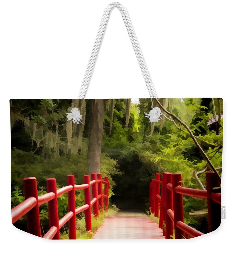 Painting Weekender Tote Bag featuring the photograph Red Bridge In Southern Plantation by David Smith