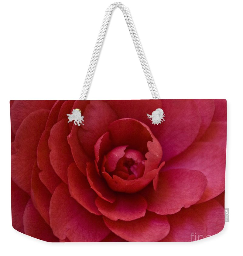 Red Weekender Tote Bag featuring the photograph Red Camellia by Cindy Garber Iverson