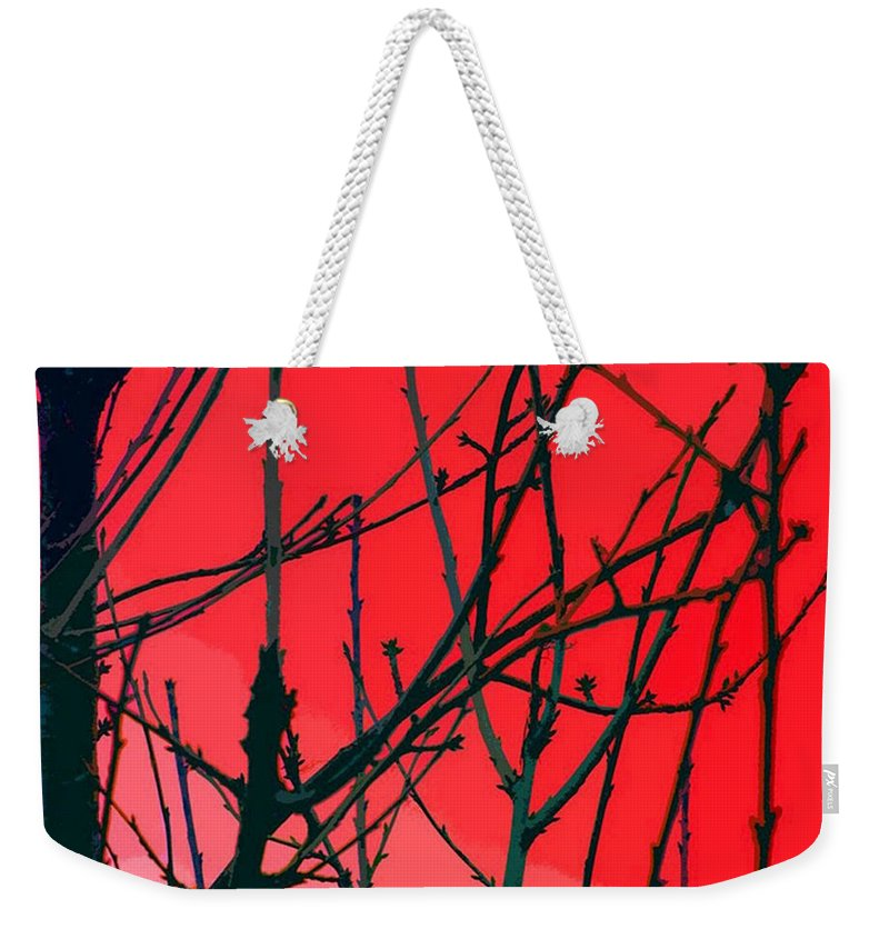 Red Weekender Tote Bag featuring the digital art Red by Carol Lynch