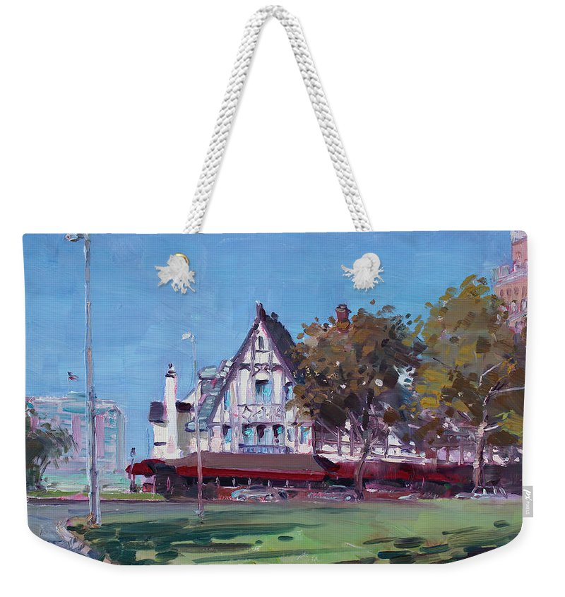 Red Coach Inn Weekender Tote Bag featuring the painting Red Coach Inn Niagara Falls Ny by Ylli Haruni