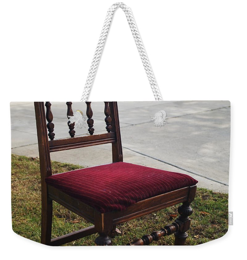 Abandoned Furniture Weekender Tote Bag featuring the photograph Red Cushion Chair by Robert Mollett