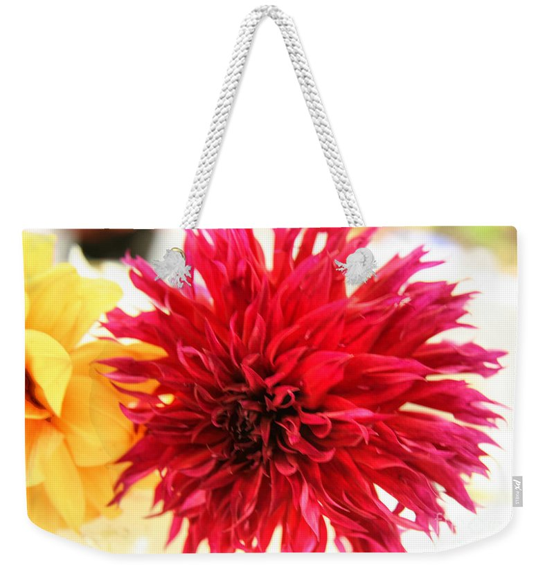 Red Weekender Tote Bag featuring the photograph Red Dahlia by Tap On Photo
