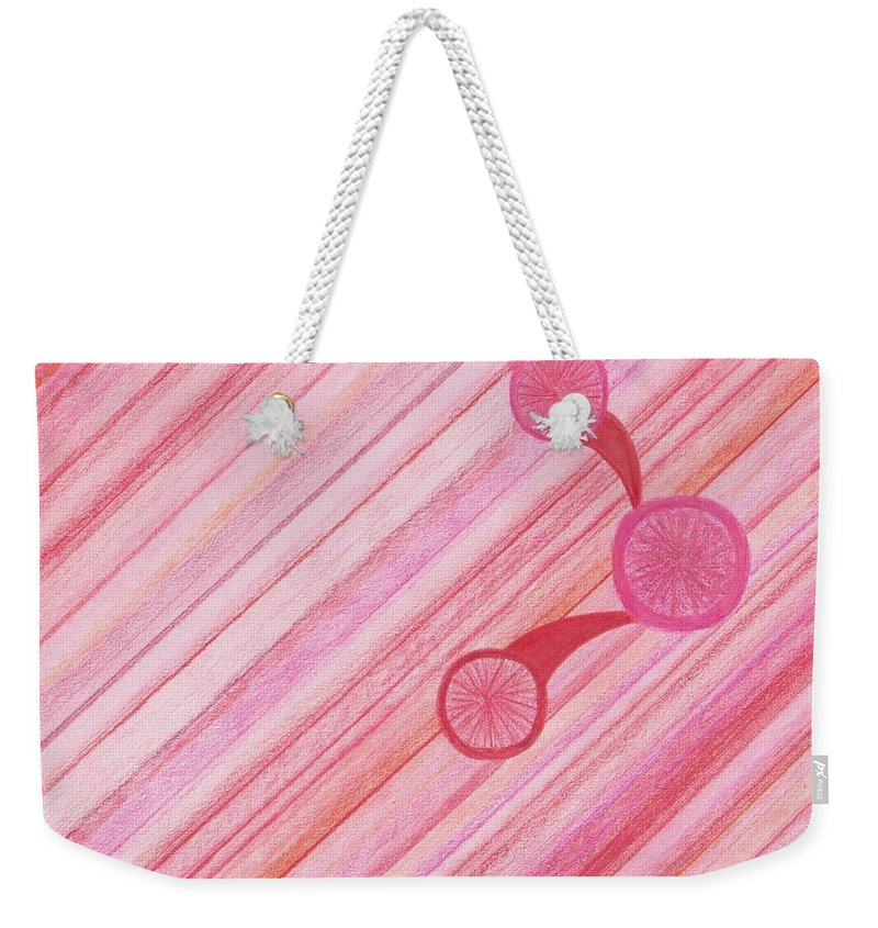 Red Weekender Tote Bag featuring the drawing Red Delight Lines by Jill Christensen