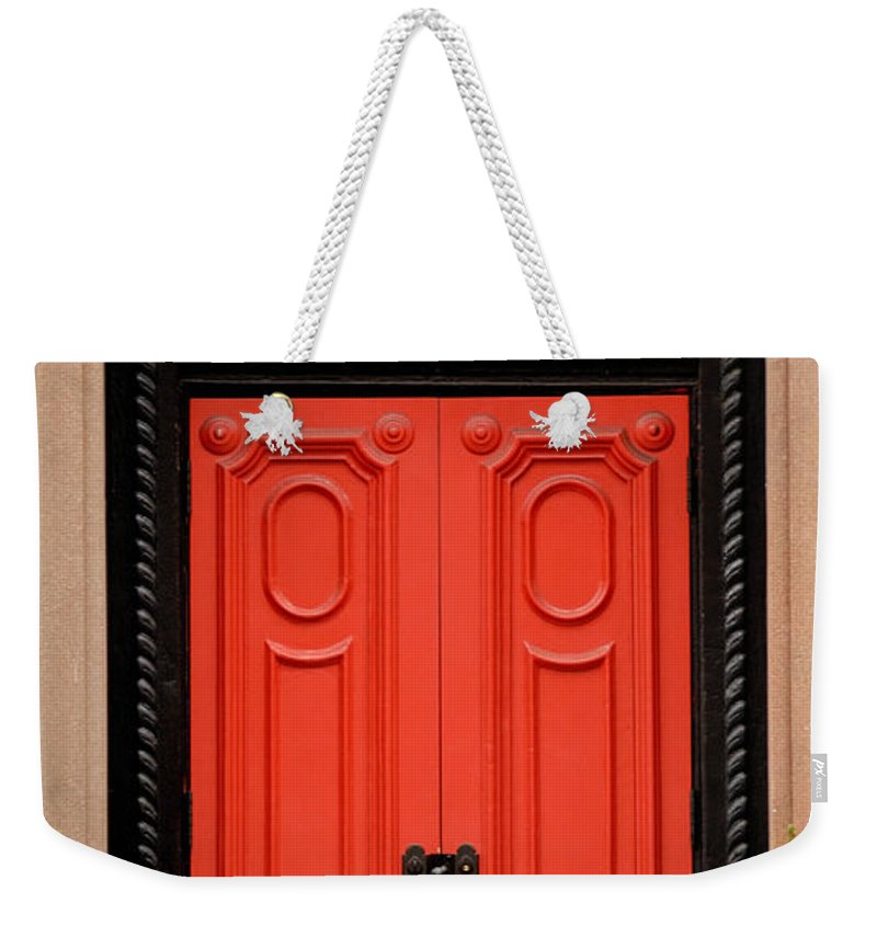 Apartment Weekender Tote Bag featuring the photograph Red Door On New York City Brownstone by Amy Cicconi