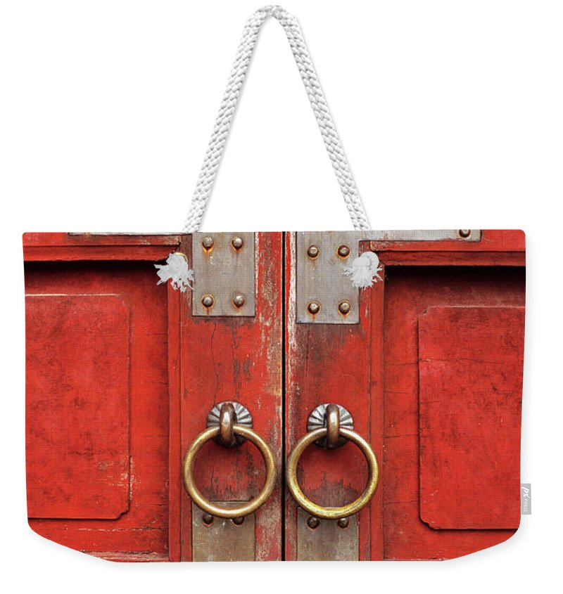 Vietnam Weekender Tote Bag featuring the photograph Red Doors 01 by Rick Piper Photography