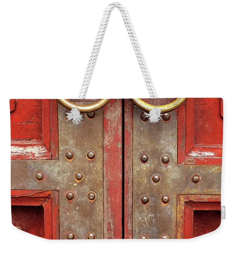 Vietnam Weekender Tote Bag featuring the photograph Red Doors 02 by Rick Piper Photography